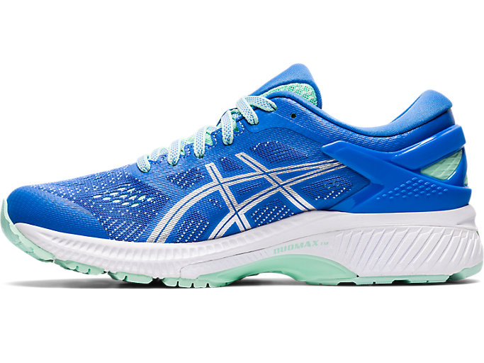 Left side view of GEL-KAYANO 26, BLUE COAST/PURE SILVER
