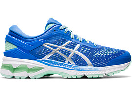 Right side view of GEL-KAYANO 26, BLUE COAST/PURE SILVER