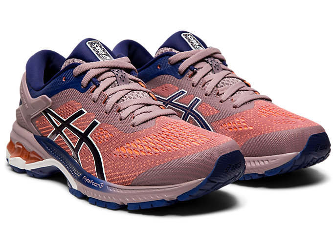 Front Right view of GEL-KAYANO™ 26, VIOLET BLUSH/DIVE BLUE