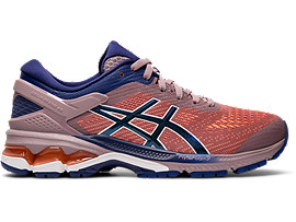 Right side view of GEL-KAYANO™ 26, VIOLET BLUSH/DIVE BLUE