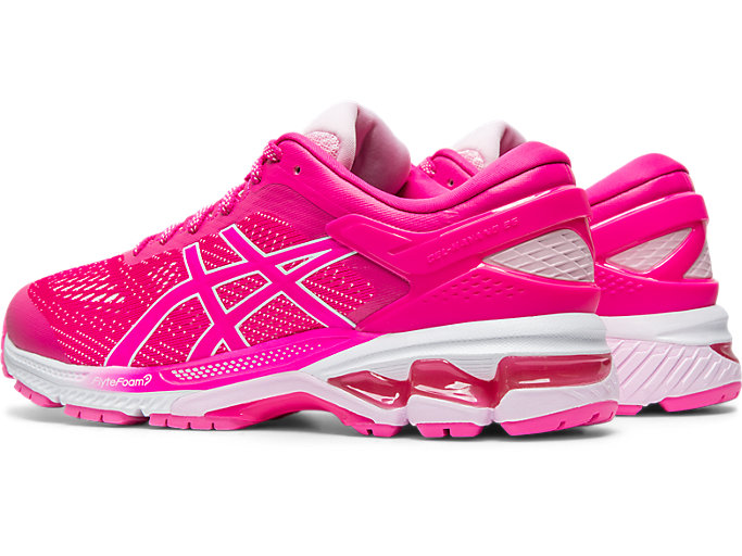 Front Left view of GEL-KAYANO 26, PINK GLO/COTTON CANDY