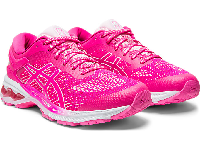 Front Right view of GEL-KAYANO 26, PINK GLO/COTTON CANDY
