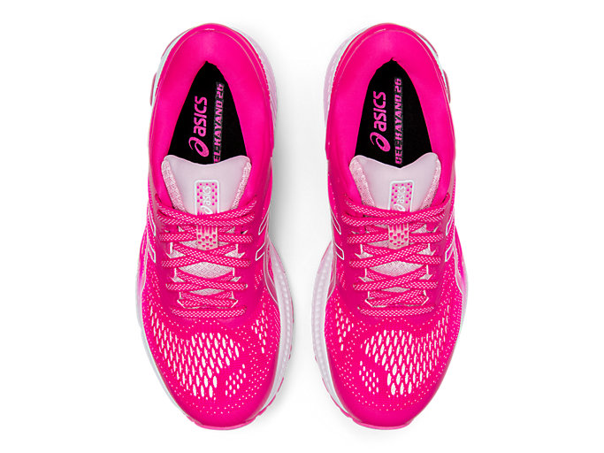 Top view of GEL-KAYANO 26, PINK GLO/COTTON CANDY