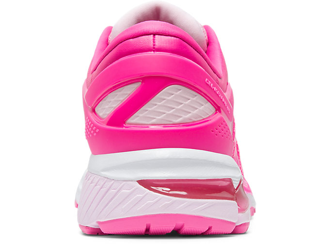 Back view of GEL-KAYANO 26, PINK GLO/COTTON CANDY