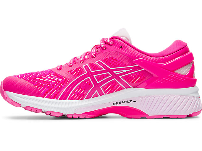 Left side view of GEL-KAYANO 26, PINK GLO/COTTON CANDY