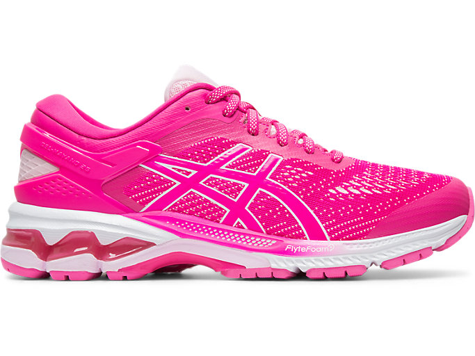 Right side view of GEL-KAYANO 26, PINK GLO/COTTON CANDY