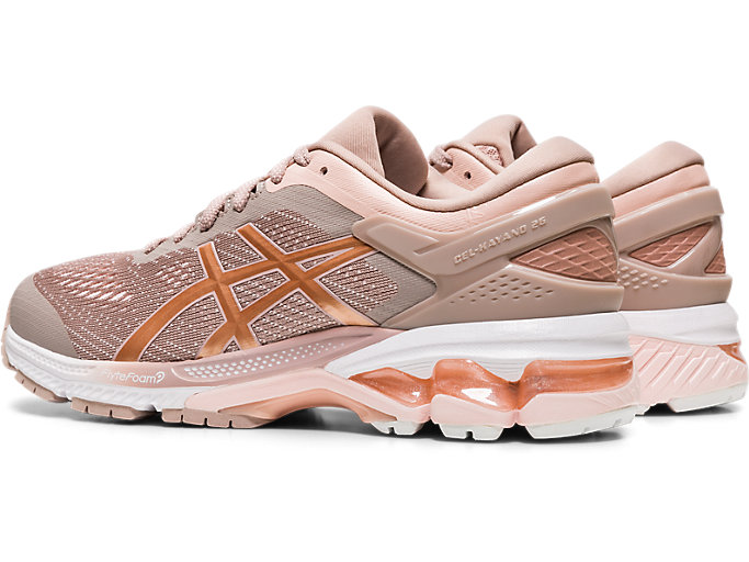 Front Left view of GEL-KAYANO™ 26, FAWN/ROSE GOLD