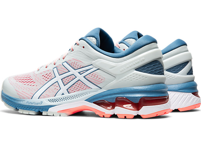 Front Left view of GEL-KAYANO 26, POLAR SHADE/WHITE