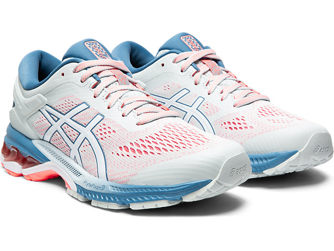 Front Right view of GEL-KAYANO 26, POLAR SHADE/WHITE
