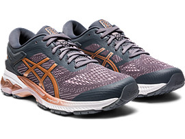 Front Right view of GEL-KAYANO 26, METROPOLIS/ROSE GOLD