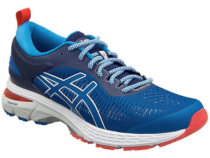 Front Right view of ASICS X MITA GEL-KAYANO 25 TRICO, INDIGO BLUE/DIRECTOIRE BLUE