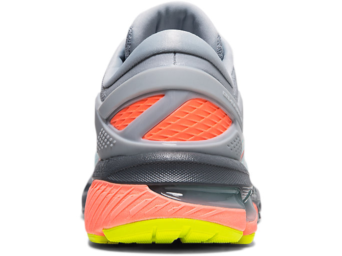 Back view of GEL-KAYANO™ 26 LS, PIEDMONT GREY/SUN CORAL