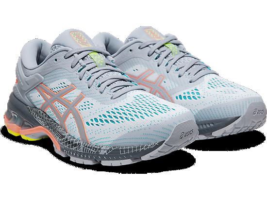 Gel Kayano 26 LS Running scarpa Womens Piedmont GreySun Coral UK Size 4 | US 6 | EU 37