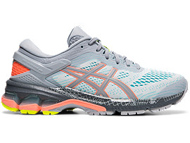 Right side view of GEL-KAYANO 26 LS, PIEDMONT GREY/SUN CORAL