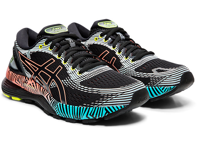 Front Right view of GEL-NIMBUS™ 21 LS, BLACK/SUN CORAL