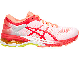 Right side view of GEL-KAYANO 26 KAI, WHITE/LASER PINK