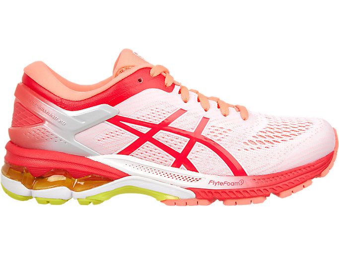Women's GEL-KAYANO 26 KAI | WHITE/LASER PINK | Running Shoes ...