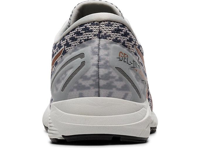 Back view of GEL-DS TRAINER 25, POLAR SHADE/ROSE GOLD