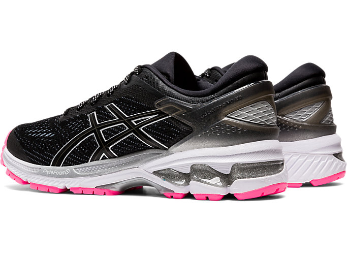 Front Left view of GEL-KAYANO™ 26 LITE-SHOW, BLACK/BLACK