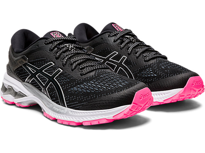 Front Right view of GEL-KAYANO™ 26 LITE-SHOW, BLACK/BLACK