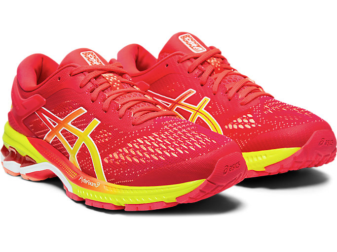 Front Right view of GEL-KAYANO™ 26, LASER PINK/SOUR YUZU