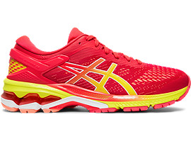 Right side view of GEL-KAYANO 26, LASER PINK/SOUR YUZU