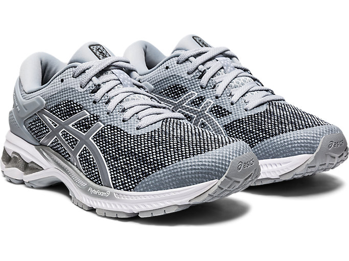 Front Right view of GEL-KAYANO 26 MX, PIEDMONT GREY/SHEET ROCK