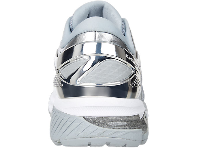 Back view of GEL-KAYANO™ 26 PLATINUM, PIEDMONT GREY/SILVER