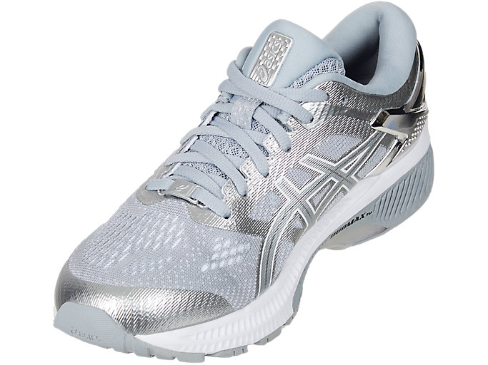 Front Left view of GEL-KAYANO™ 26 PLATINUM, PIEDMONT GREY/SILVER
