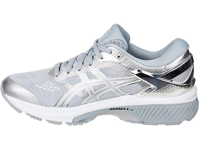 Left side view of GEL-KAYANO™ 26 PLATINUM, PIEDMONT GREY/SILVER