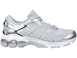 Right side view of GEL-KAYANO 26 PLATINUM, PIEDMONT GREY/SILVER