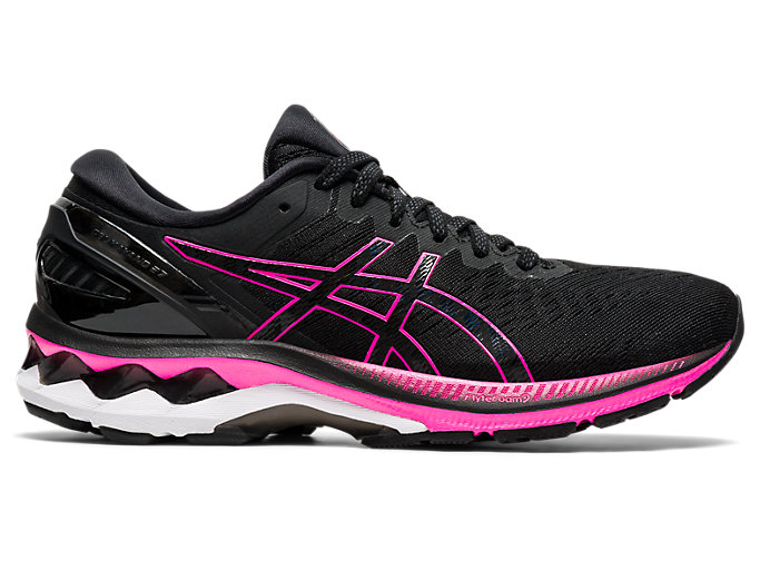 Right side view of GEL-KAYANO 27, BLACK/PINK GLO