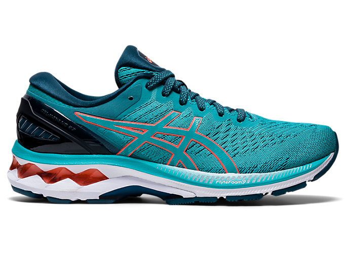 Right side view of GEL-KAYANO 27, TECHNO CYAN/SUNRISE RED