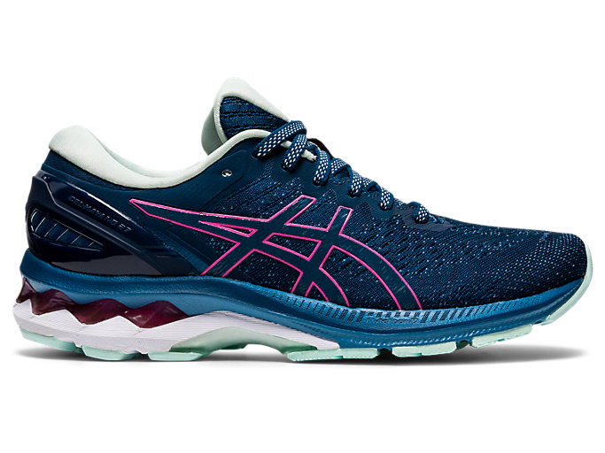 Right side view of GEL-KAYANO 27, MAKO BLUE/HOT PINK
