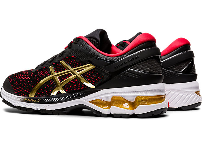 Front Left view of GEL-KAYANO 26, BLACK/PURE GOLD