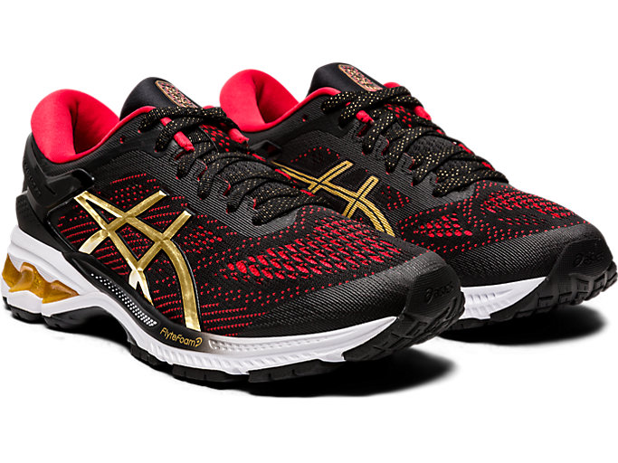 Front Right view of GEL-KAYANO 26, BLACK/PURE GOLD