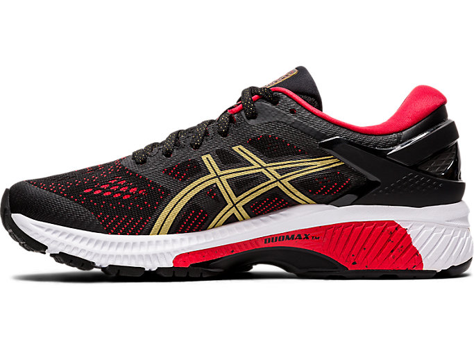 Left side view of GEL-KAYANO 26, BLACK/PURE GOLD
