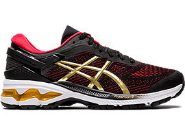 Right side view of GEL-KAYANO 26, BLACK/PURE GOLD