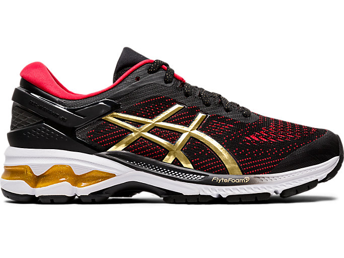 Right side view of GEL-KAYANO™ 26, BLACK/PURE GOLD