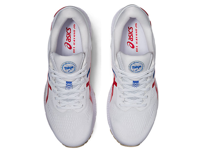 Top view of GEL-KAYANO™ 26, WHITE/CLASSIC RED