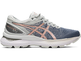 Right side view of GEL-NIMBUS 22 KNIT, SHEET ROCK/ROSE GOLD