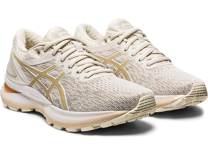 Front Right view of GEL-NIMBUS 22 KNIT, BIRCH/CHAMPAGNE