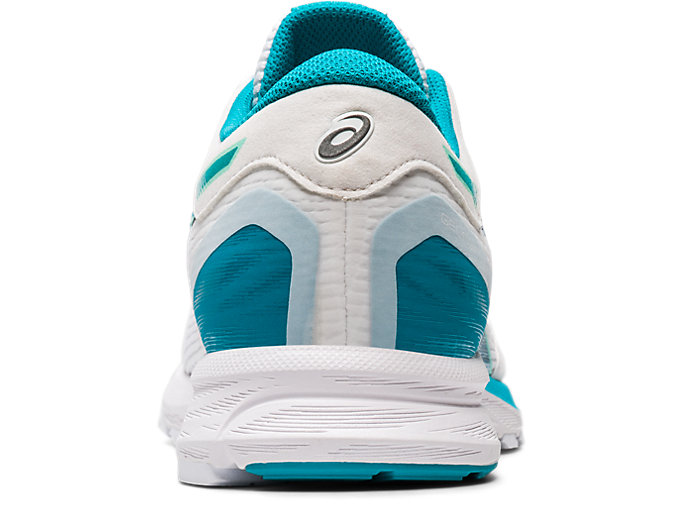 Back view of GEL-FEATHER GLIDE 5, WHITE/LAGOON