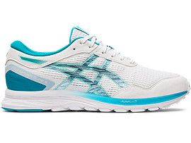 Right side view of GEL-FEATHER GLIDE 5, WHITE/LAGOON
