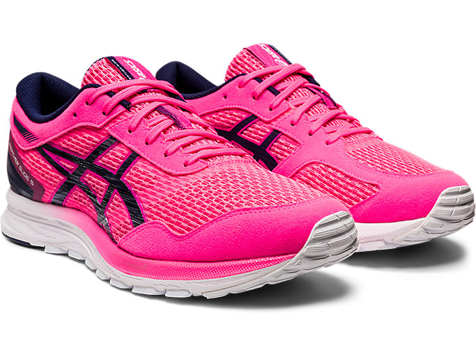 Front Right view of GEL-FEATHER GLIDE 5, HOT PINK/PEACOAT