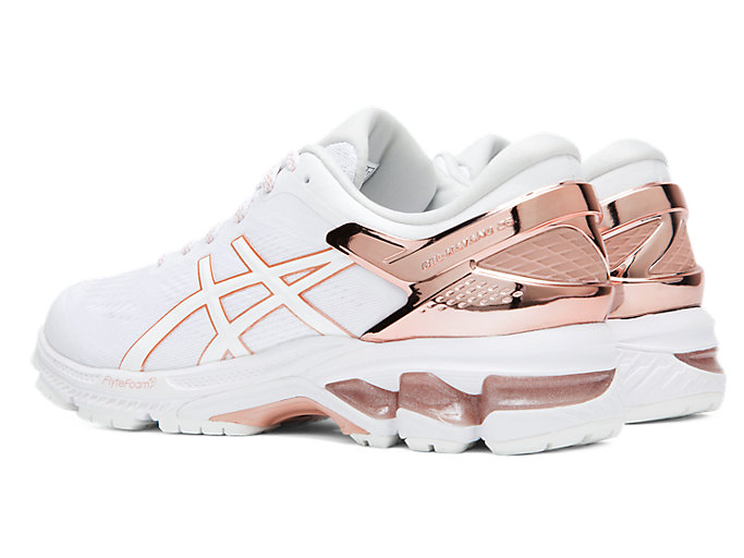 Front Left view of GEL-KAYANO™ 26 PLATINUM, WHITE/ROSE GOLD