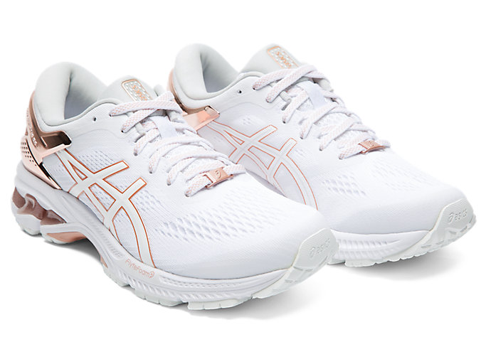 Front Right view of GEL-KAYANO™ 26 PLATINUM, WHITE/ROSE GOLD