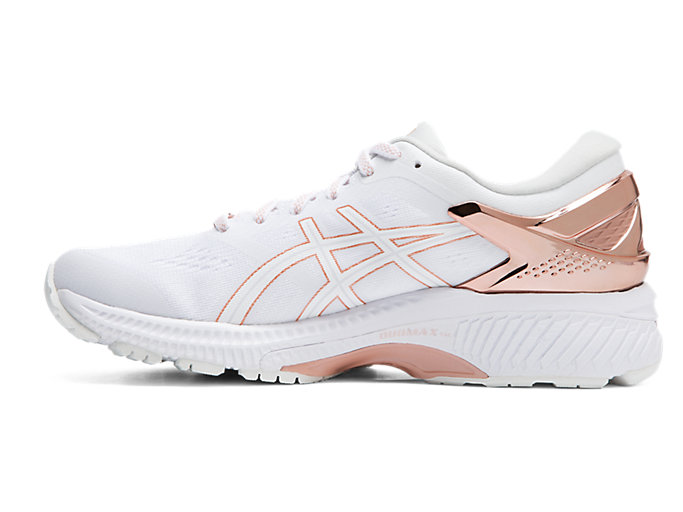 Left side view of GEL-KAYANO™ 26 PLATINUM, WHITE/ROSE GOLD