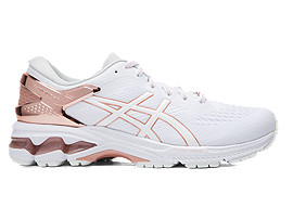 Right side view of GEL-KAYANO 26 PLATINUM, WHITE/ROSE GOLD