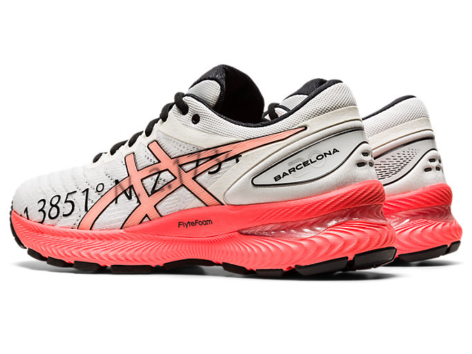 Front Left view of GEL-NIMBUS 22, WHITE/FLASH CORAL